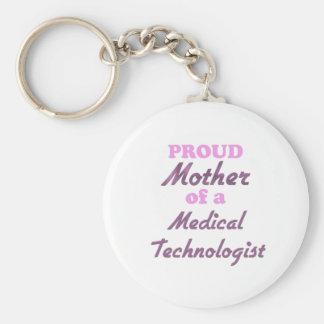 Madre orgullosa de un tecnólogo médico llavero redondo tipo pin