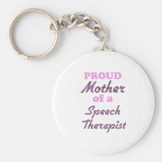 Madre orgullosa de un terapeuta de discurso llavero redondo tipo pin