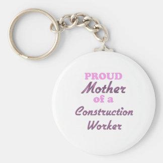 Madre orgullosa de un trabajador de construcción llavero personalizado