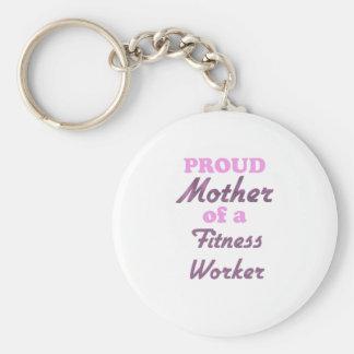 Madre orgullosa de un trabajador de la aptitud llaveros personalizados