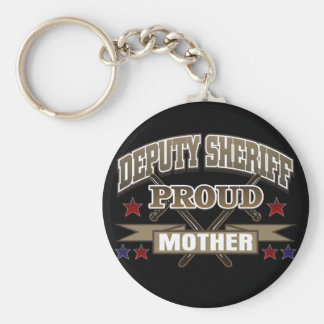 Madre orgullosa del ayudante del sheriff llavero redondo tipo pin