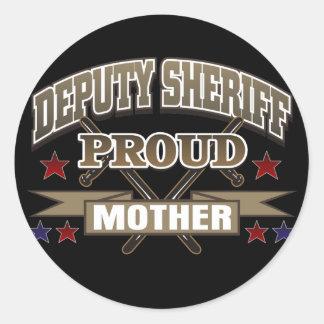 Madre orgullosa del ayudante del sheriff pegatina redonda