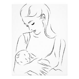 Madre Pecho-que alimenta al bebé infantil Membrete