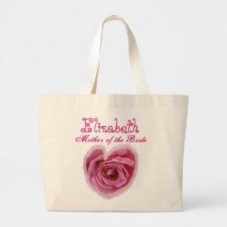 Madre personalizada corazón color de rosa rosado d bolsa tela grande