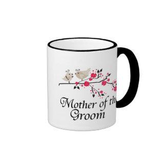 Madre personalizada de los pájaros del novio que c taza
