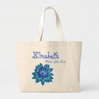 Madre personalizada flor azul de la novia bolsas