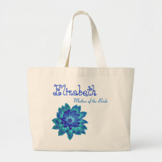 Madre personalizada flor azul de la novia bolsa tela grande