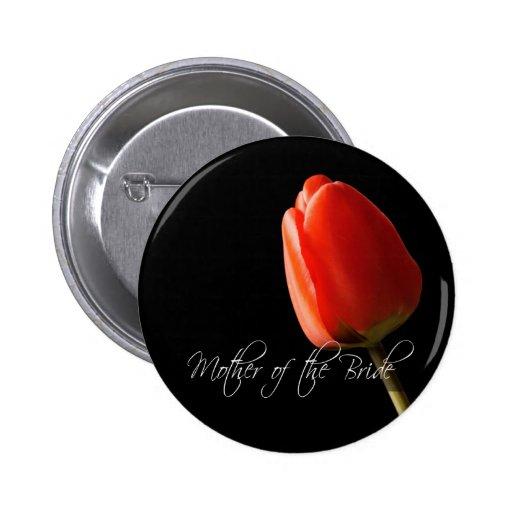 Madre pintada rojo del tulipán de la novia pin redondo 5 cm