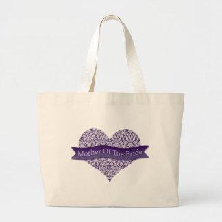 Madre púrpura de la novia bolsa tela grande
