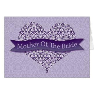 Madre púrpura de la novia tarjeta