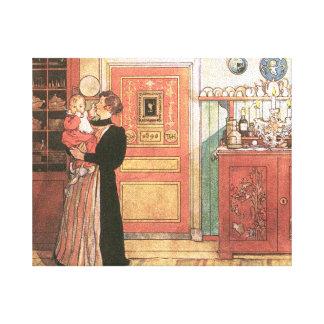Madre que celebra al bebé en la cocina impresion de lienzo
