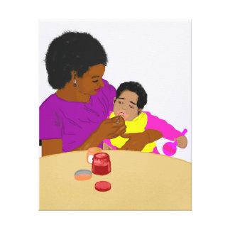 Madre que le alimenta la impresión de la lona del  impresión en lona estirada