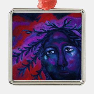 Madre que mira la compasión carmesí y violeta adorno navideño cuadrado de metal