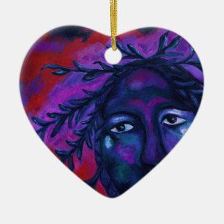 Madre que mira la compasión carmesí y violeta adorno navideño de cerámica en forma de corazón