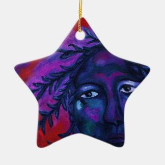 Madre que mira la compasión carmesí y violeta adorno navideño de cerámica en forma de estrella
