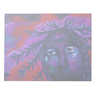 Madre que mira la compasión carmesí y violeta blocs de notas