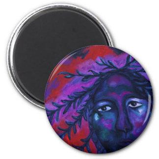 Madre que mira la compasión carmesí y violeta imán redondo 5 cm