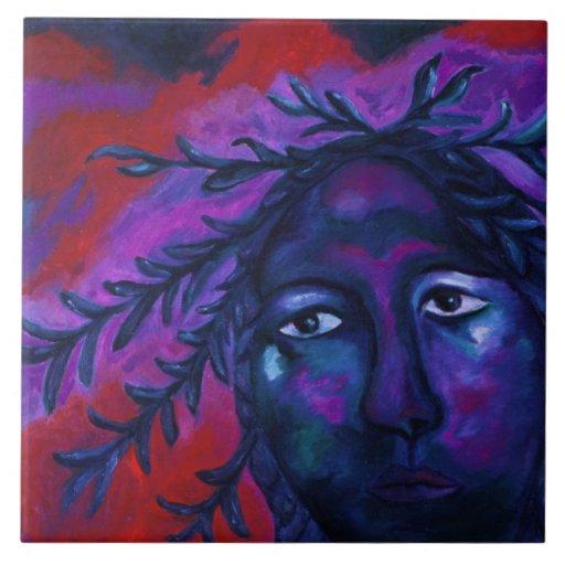 Madre que mira la compasión carmesí y violeta todo azulejo cuadrado grande