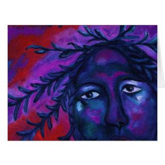 Madre que mira toda la compasión violeta roja tarjeta de felicitación grande