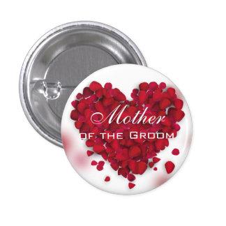 Madre roja del corazón del amor de los pétalos chapa redonda 2,5 cm
