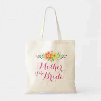 Madre rosada de las flores de la novia bolsa tela barata