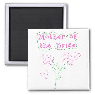 Madre rosada de las flores de la novia imán cuadrado