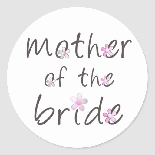Madre rosada del pétalo del regalo de la novia pegatina redonda