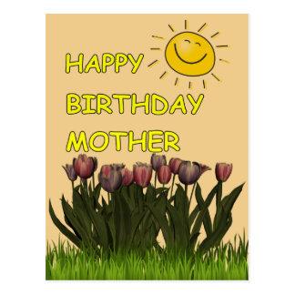 Madre Sun del feliz cumpleaños y flores Tarjeta Postal