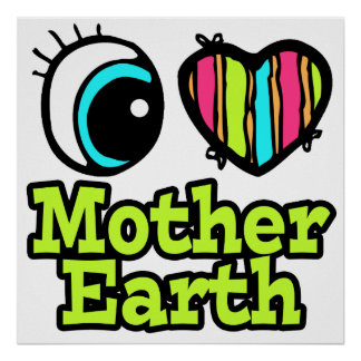 Madre tierra brillante del amor del corazón I del  Posters