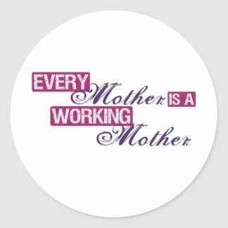 madre trabajadora etiquetas redondas