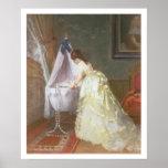 Madre y bebé, 1869 (aceite en el panel) poster