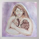 Madre y bebé de amamantamiento poster