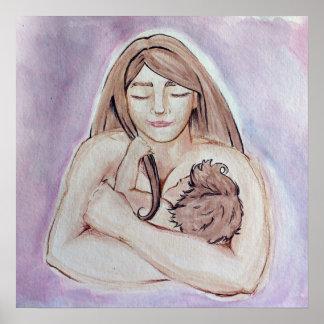 Madre y bebé de amamantamiento póster