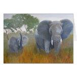 Madre y bebé del elefante felicitacion
