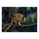 Madre y bebé del mono de ardilla tarjeton