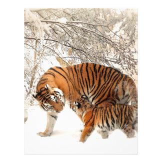 Madre y bebé del tigre plantillas de membrete