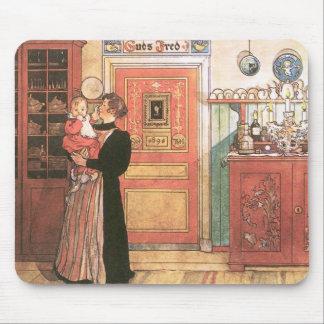 Madre y bebé en la cocina tapete de raton