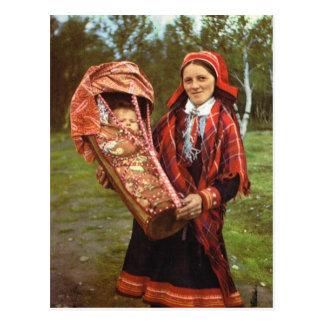 Madre y bebé, Laponia del vintage Noruega, de Sami Postal