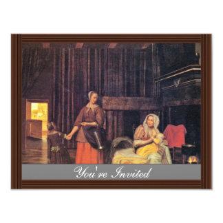 Madre y criada y niño de amamantamiento de Pieter Invitación 10,8 X 13,9 Cm