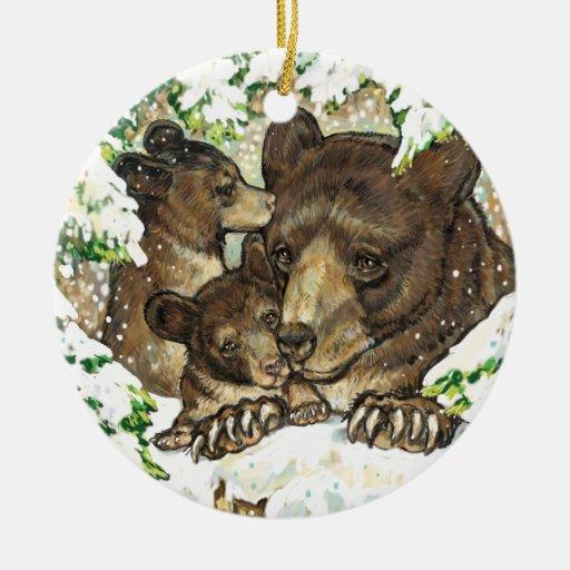 Madre y Cubs del oso negro del arte de la fauna de Ornamentos De Navidad