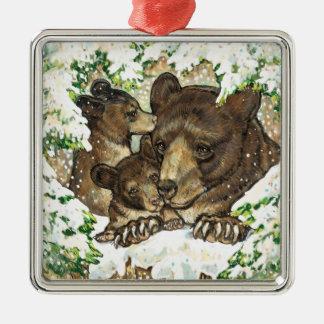 Madre y Cubs del oso negro del arte de la fauna de Ornato