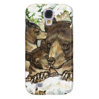 Madre y Cubs del oso negro del arte de la fauna de Funda Para Galaxy S4