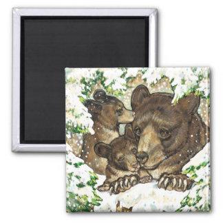 Madre y Cubs del oso negro del arte de la fauna de Imán De Frigorífico