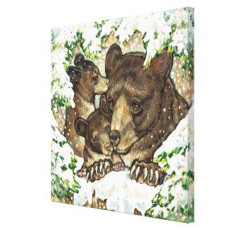 Madre y Cubs del oso negro del arte de la fauna de Lona Estirada Galerías