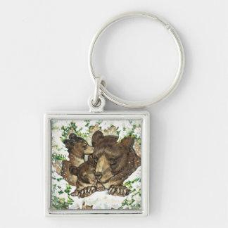 Madre y Cubs del oso negro del arte de la fauna de Llaveros Personalizados