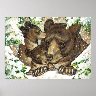 Madre y Cubs del oso negro del arte de la fauna de Impresiones