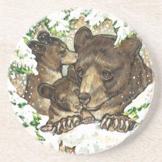 Madre y Cubs del oso negro del arte de la fauna de Posavasos Manualidades
