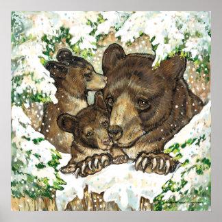 Madre y Cubs del oso negro del arte de la fauna de Póster