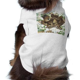 Madre y Cubs del oso negro del arte de la fauna de Camisa De Mascota