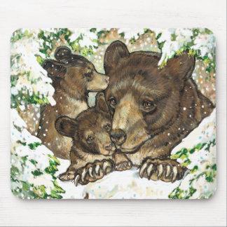 Madre y Cubs del oso negro del arte de la fauna de Alfombrillas De Raton